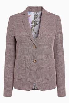 Check Cotton Rich Blazer