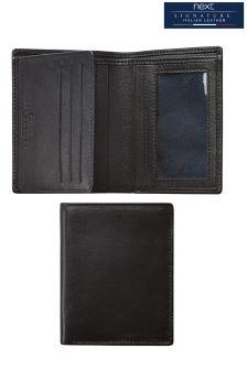 Black Signature Italian Leather Multi Card Wallet