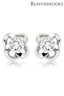 Beaverbrooks Silver Cubic Zirconia Twist Stud Earrings