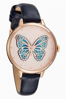 Navy 3D Butterfly Dial Watch