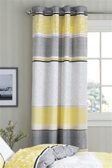 Hadley Stripe Blackout Lined Eyelet Curtains