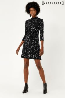 Warehouse Black Spot Channel Dress