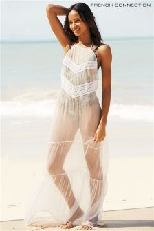 White French Connection Summer Embroidered Beach Dress