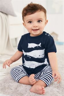 Navy/White Whale Two Piece Set (0mths-2yrs)