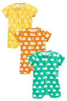 All Over Print Rompers Three Pack (0mths-2yrs)