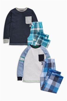 Blue Check Bottom Pyjamas Two Pack (3-16yrs)