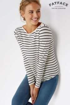 Fat Face Ivory Stripe Breton Top