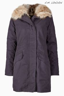 A.M. London Black Faux Fur Lined Parka
