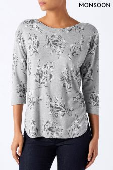 Monsoon Grey Iris Print Christmas Jumper