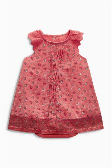 Coral Print Dress With Integrated Bodysuit (0mths-2yrs)
