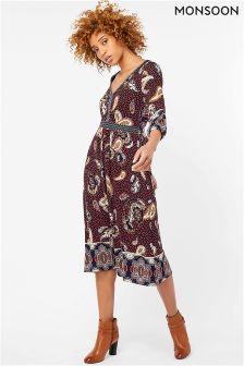 Monsoon Navy Sienna Print Midi Dress