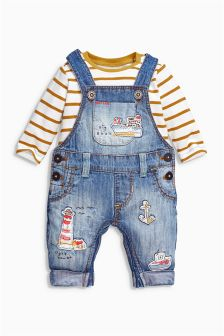 Denim Embellished Dungarees And Bodysuit Set (0mths-2yrs)