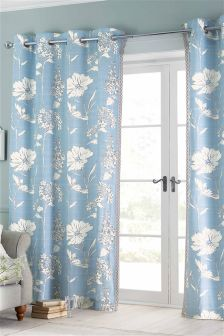 Powder Blue Country Floral Print Eyelet Curtains