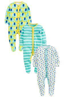 Elephant Sleepsuits Three Pack (0mths-2yrs)