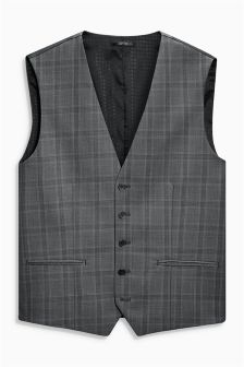 Grey Check Tailored Fit Suit: Waistcoat