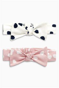 Spot Print Bow Headbands Two Pack (0-18mths)