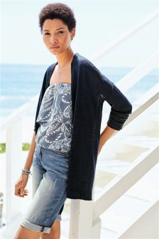 Linen Mix Edge to Edge Cardigan (105508) | £24