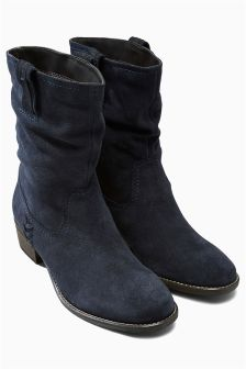 Leather Slouch Casual Boots