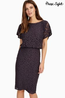 Phase Eight Charcoal Sandra Spot Burnout Dress