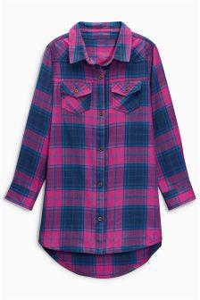 Pink And Navy Check Longline Shirt (3-16yrs)