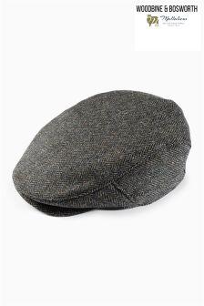 Charcoal Made In England Herringbone Flat Cap