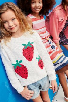Ecru Strawberry Motif Knit Sweater (3-16yrs)
