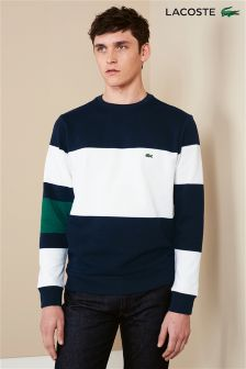 Lacoste® Navy Stripe Crew Neck Sweat