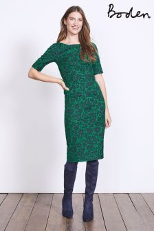 Boden Pixie Green Shadow Floral Fleur Fitted Dress