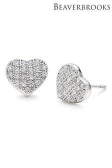 Beaverbrooks Silver Cubic Zirconia Heart Earrings