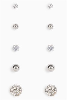 Crystal Effect Studs Five Pack