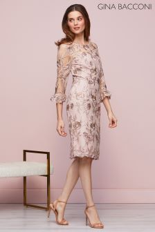 Gina Bacconi Pink Denise Embroidered Dress
