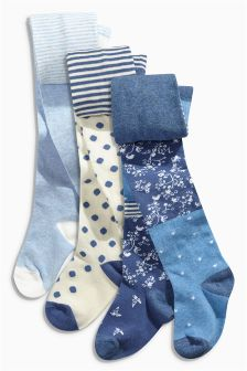 Blue Patchwork and Spot Tights Three Pack (0mths-6yrs)