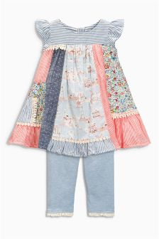 Patchwork Dress And Leggings Set (0mths-2yrs)