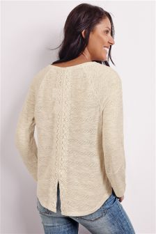 Lace Back Knit Look Top