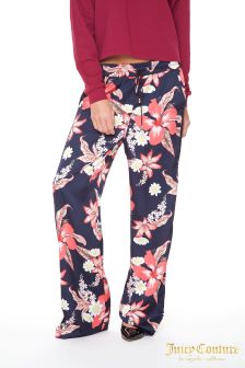Juicy Couture Blue Floral Lace Pants