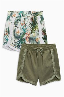 Khaki/Palm Print Shorts Two Pack (3mths-6yrs)