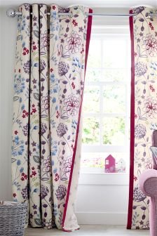 Cotton Country Meadow Print Eyelet Curtains