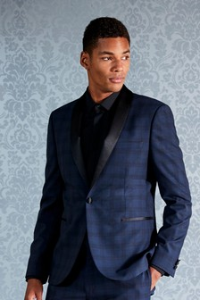 Check Skinny Fit Tuxedo Suit