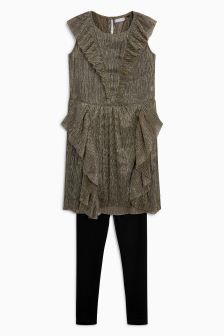 Mesh Ruffle Dress And Leggings Set (3-16yrs)