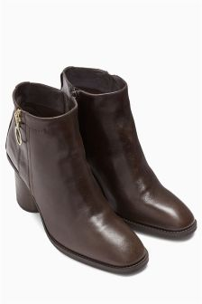 Signature Leather Zip Detail Ankle Boots