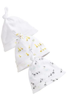 White Noah's Ark Tie Top Hats Three Pack (0-12mths)