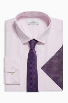 Pink Textured Shirt, Tie And Pocket Square Set