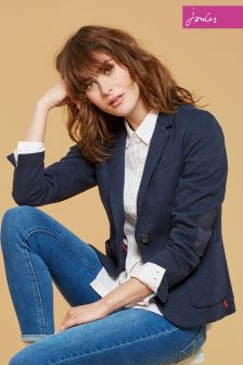 Joules Navy Dogtooth Gerrie Blazer