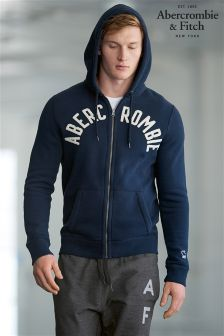 Abercrombie & Fitch Navy Zip Through Logo Hoody