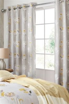 Cotton Rich Ochre Woodblock Eyelet Curtains