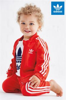 Red adidas Originals 3 Stripe Tracksuit