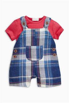 Navy Check Dungaree And Red Bodysuit Set (0mths-2yrs)