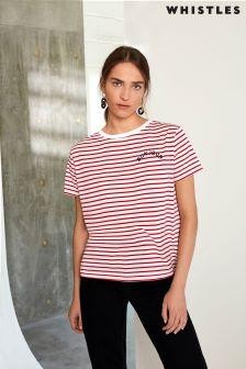 Whistles Navy Striped Bonjour T-Shirt
