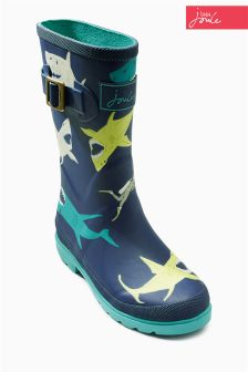 Navy Little Joule Shark Welly