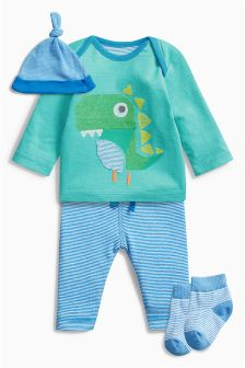 Blue/Green Dino Four Piece Set (0mths-2yrs)